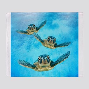 Baby Turtles in the Sea Throw Blanket