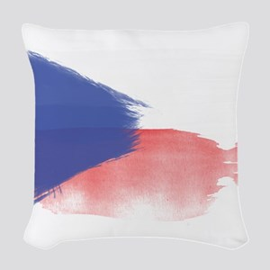 czech flag republic Woven Throw Pillow