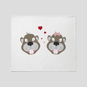 Beavers in love Throw Blanket