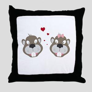 Beavers in love Throw Pillow