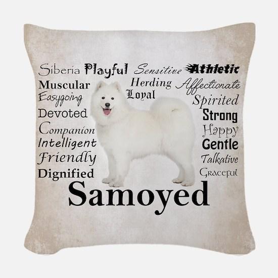 Samoyed Traits Woven Throw Pillow
