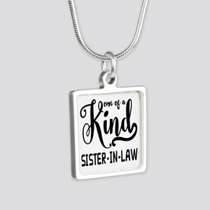 One of a kind Sister-in-la Silver Square Necklace