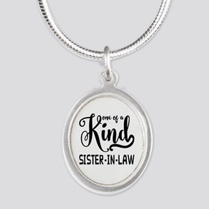One of a kind Sister-in-law Silver Oval Necklace