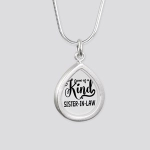 One of a kind Sister-in- Silver Teardrop Necklace