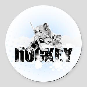 Hockey Player Round Car Magnet