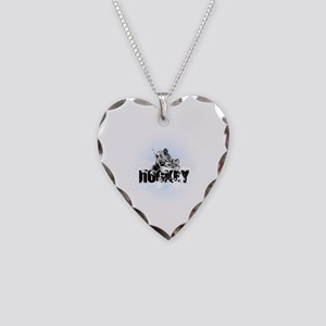 Hockey Player Necklace Heart Charm