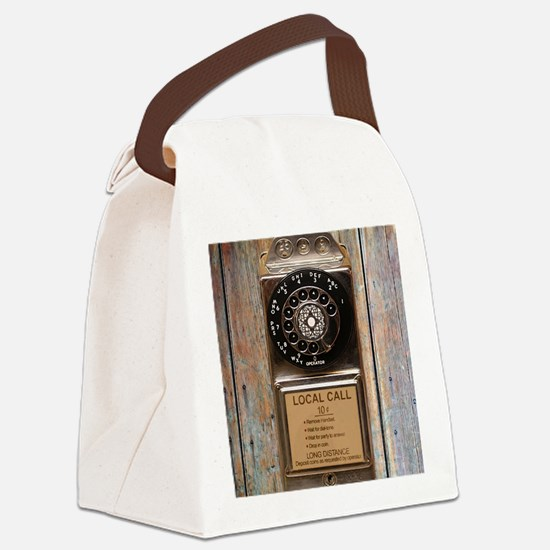 Antique rotary pay phone Canvas Lunch Bag