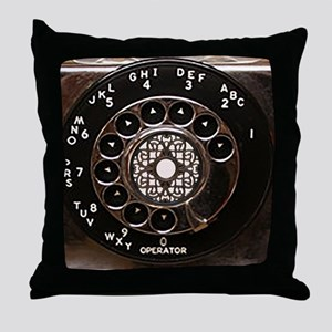 Rotary phone vintage dial telephone Throw Pillow