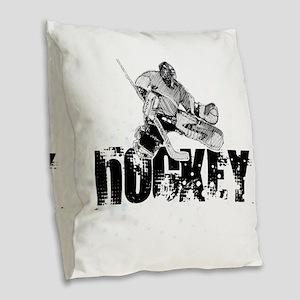 Hockey Player Burlap Throw Pillow