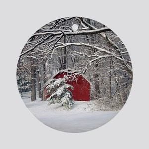 Red Barn in the Snow 2011 Round Ornament