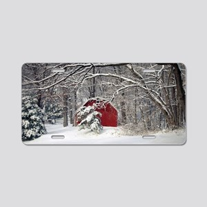 Red Barn in the Snow 2011 Aluminum License Plate