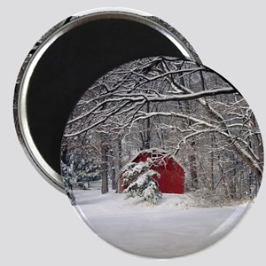 Red Barn in the Snow 2011 Magnets
