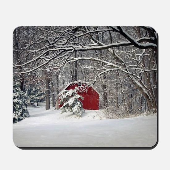 Red Barn in the Snow 2011 Mousepad