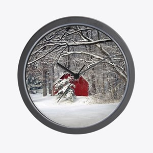 Red Barn in the Snow 2011 Wall Clock