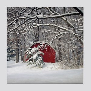 Red Barn in the Snow 2011 Tile Coaster