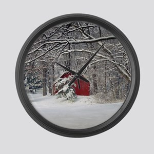 Red Barn in the Snow 2011 Large Wall Clock