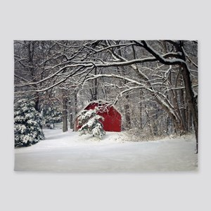 Red Barn in the Snow 2011 5'x7'Area Rug
