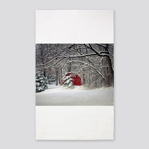 Red Barn in the Snow 2011 Area Rug