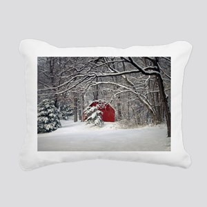 Red Barn in the Snow 2011 Rectangular Canvas Pillo