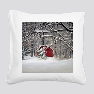 Red Barn in the Snow 2011 Square Canvas Pillow