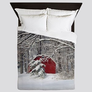 Red Barn in the Snow 2011 Queen Duvet