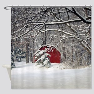 Red Barn In The Snow 2011 Shower Curtain