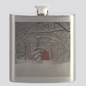 Red Barn in the Snow 2011 Flask