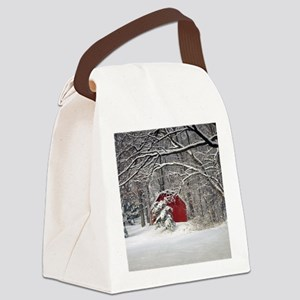 Red Barn in the Snow 2011 Canvas Lunch Bag