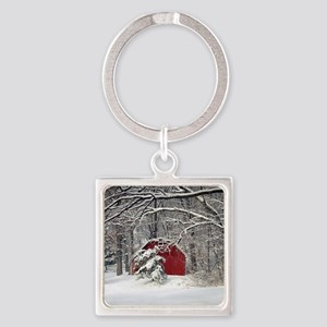 Red Barn in the Snow 2011 Keychains