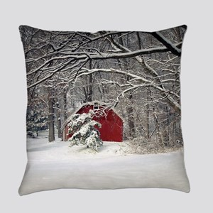 Red Barn in the Snow 2011 Everyday Pillow