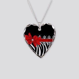 Zebra (red) Necklace Heart Charm