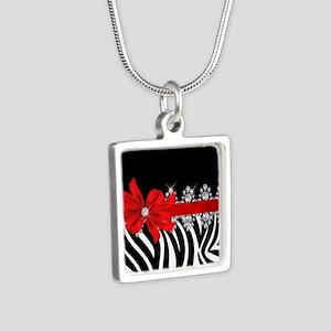 Zebra (red) Silver Square Necklace
