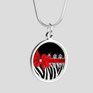 Zebra (red) Silver Round Necklace