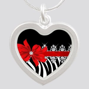 Zebra (red) Silver Heart Necklace
