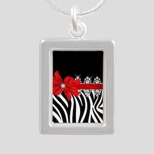 Zebra (red) Silver Portrait Necklace