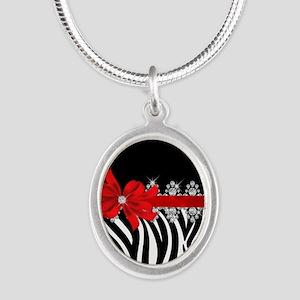 Zebra (red) Silver Oval Necklace