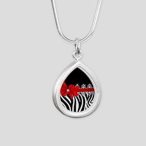 Zebra (red) Silver Teardrop Necklace
