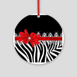 Zebra (red) Round Ornament