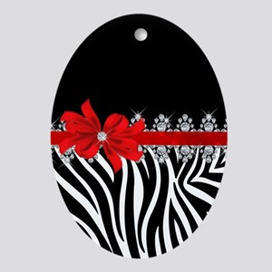 Zebra (red) Oval Ornament