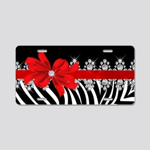 Zebra (red) Aluminum License Plate