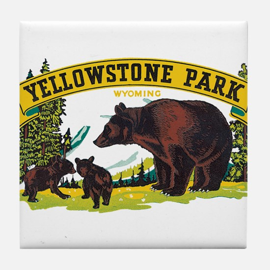 Yellowstone Bears Tile Coaster