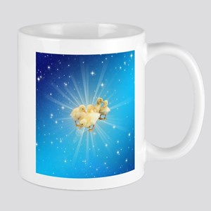 Group of small cute ducks on a blue sky with Mugs