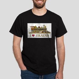 I Love Trains Dark T-Shirt
