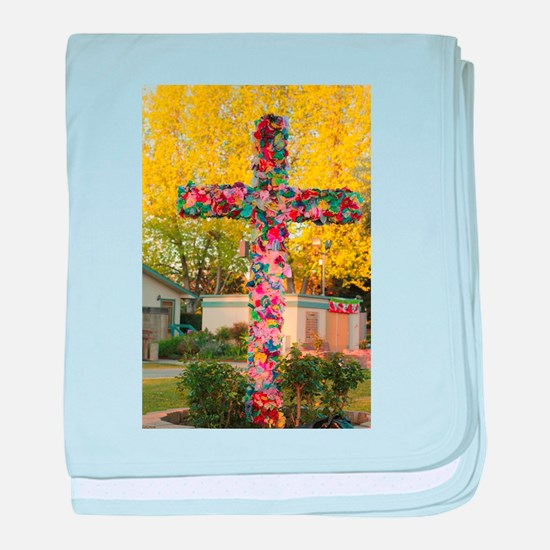 cross with paper flowers baby blanket