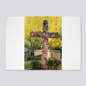 cross with paper flowers 5'x7'Area Rug