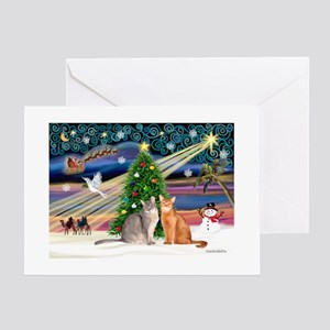 XMagic-2 Abyssinian cats Greeting Card