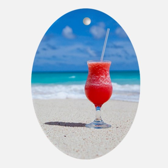 daiquiri paradise beach Oval Ornament