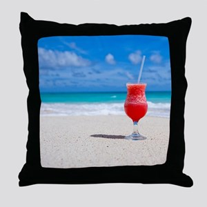 daiquiri paradise beach Throw Pillow