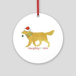 Naughty Christmas Golden Retriever Round Ornament
