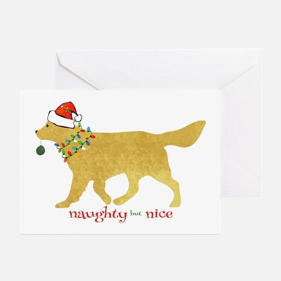 Naughty Christmas Golden Retriever Greeting Cards